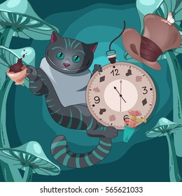 Vector illustration of Cheshire cat on wonderland background with cap of tea, pocket watch, hat, bottle of the elixir, mushrooms.
