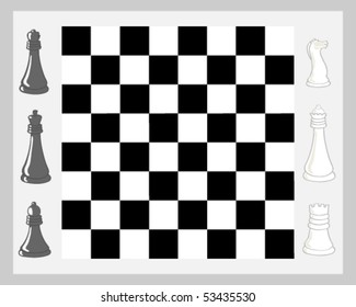 vector illustration of a chess board and a selection of pieces