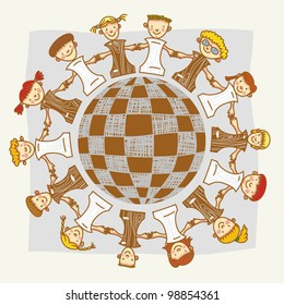 Vector illustration with chess kids and chess planet.