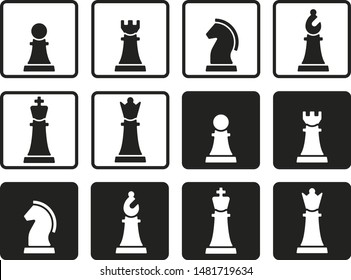 Vector illustration. Chess pieces in flat and geometric style.