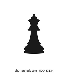 Vector illustration of chess queen icon. Black chess queen icon on white background.