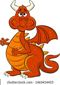 vector illustration of a chewing cartoon dragon with a full mouth