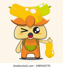 vector illustration of chibi and cute papaya mascot cartoon character, cute plant, chibi vegetable, chibi vegetables, chibi fruit, cute fruit, papaya mascot, grab papaya, cute food character.