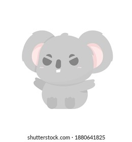 vector illustration of chibi koala character. angry and irritated koala expression. funny, cute, and adorable animals. flat style. element design. can be used for mascot stickers and logos