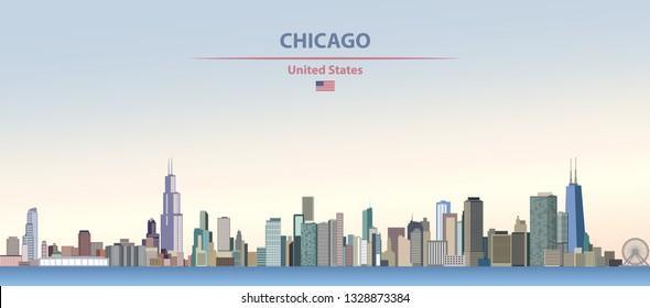 Vektorgrafik der Skyline von Chicago auf buntem Farbverlauf-schönem Himmelshintergrund mit Flagge der Vereinigten Staaten