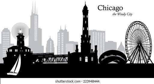 Vector illustration of the Chicago, Illinois, cityscape as a silhouette in black and grey with downtown skyline in the background