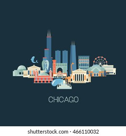 Vector illustration of Chicago skyline with famous landmarks. Greeting card or poster with historical buildings, sightseeing and known museums. Flat style.