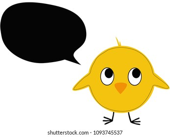 Vector illustration of a chick with speech bubble