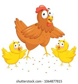 Vector Illustration Of Chicken And Chicks