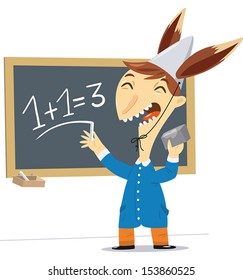 A vector illustration of a child with a hat with ears of a donkey makes a math wrong.