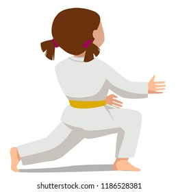 Vector illustration of a child in kimono. The basic movement Suvari waza Mae-sikko view from the back. Suitable for oriental martial arts such as aikido, judo, karate, jiu-jitsu, budo