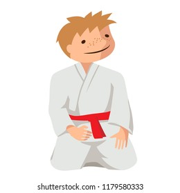 Vector illustration of a child in kimono. Suitable for oriental martial arts such as aikido, judo, karate, jiu-jitsu, budo