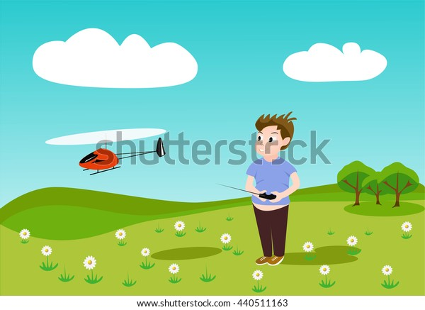 vector illustration of a child managing a toy helicopter