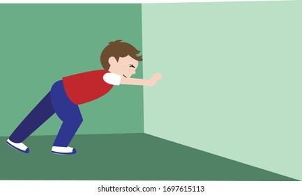 Vector Illustration of a Child Pushing the Wall, Experiment of Pushing Objects, Online Education Materials
