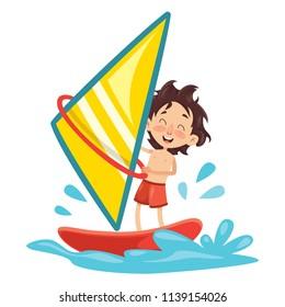 Vector Illustration Of Child Windsurfing