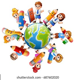 Vector illustration of Children around the earth with stationery collection