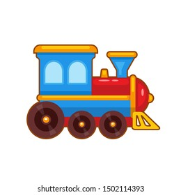 Vector illustration of children colorful toy train  on white background