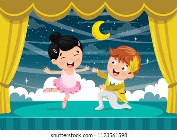 Vector Illustration Of Children Dancing
