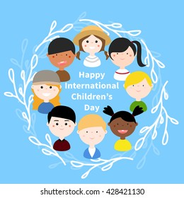 Vector Illustration: Children with different nationalities, skin colors, clothes in a circle of leaves branch. Cute, cartoon, colorful, simple, flat, abstract, for Happy International Children's Day.