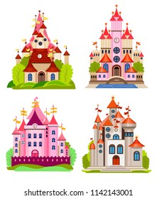 Vector illustration for children with fairy castle and landscape (flat concept)