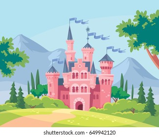 Vector illustration for children with fairy pink castle and landscape