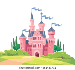 Vector illustration for children with fairy pink castle isolated