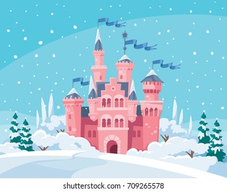 Vector illustration for children with fairy pink castle and winter landscape