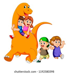 vector illustration of the children get into the big apatosaurus's body and playing with it some of the children run beside him