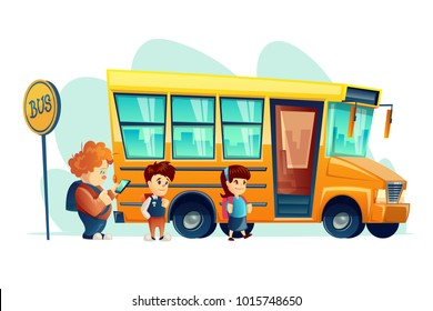 Vector illustration of children get on school bus on the stop sign, isolated. Transportation pupil or student, transport and automobile. Vehicle of educational organisation. Print for internet, design