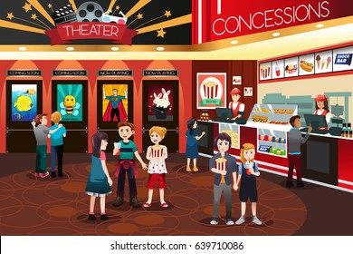 A vector illustration of Children Going to Watch Movies