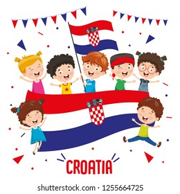Vector Illustration Of Children Holding Croatia Flag