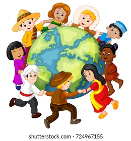 vector illustration of Children holding hands around the world