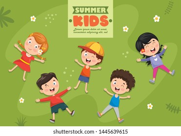 Vector Illustration Of Children Lying On Grass