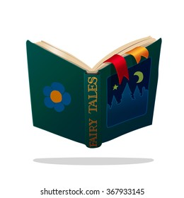vector illustration children open old book of fairy tales. EPS 10. clip art isolated on white background