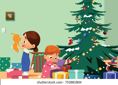 A vector illustration of Children Opening Christmas Presents