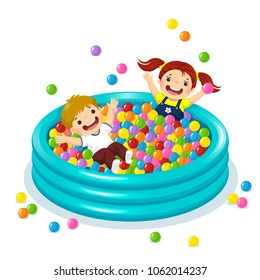 Vector illustration of children playing with colorful balls in ball pool