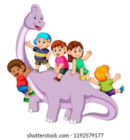 vector illustration of the children playing and get into the saurolophus body and some od them holding his neck it