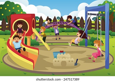 A vector illustration of children playing in the playground