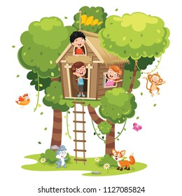 Vector Illustration Of Children Playing At Tree House