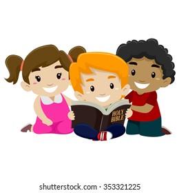 Vector Illustration of Children Reading Bible