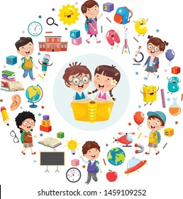 Vector Illustration Of Children Reading Book