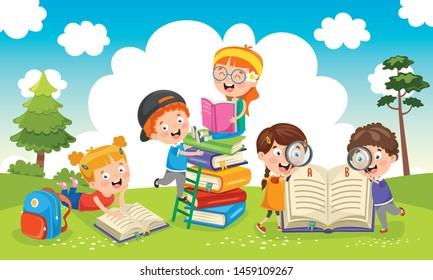 Vector Illustration Of Children Reading Book At Garden