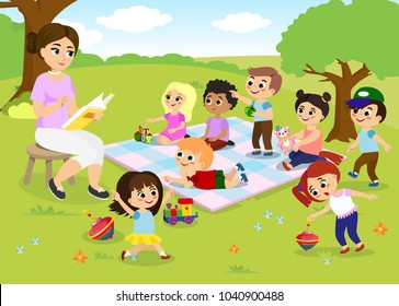 Vector illustration of children s activities at the summer camp, kids playing in the park, teacher is reading book for happy kids in flat cartoon style.
