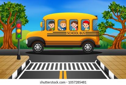 vector illustration of children of a school bus