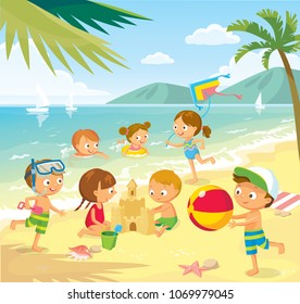 Vector illustration with children and summer background