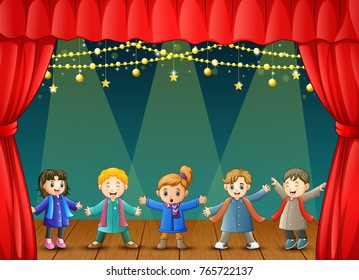 Vector illustration of Children in winter clothes performing on stage