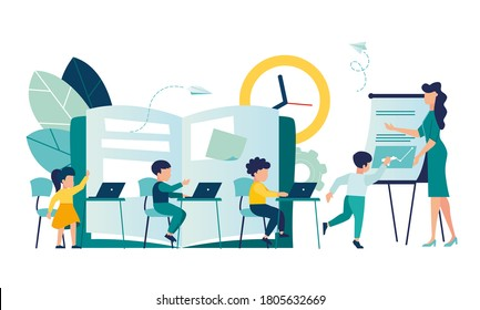 Vector illustration with children working on computers, teacher teacher, Children learn to coding banner, informatics lesson in class, people working on laptops