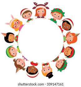 Vector illustration of children of the world in costumes Christmas in the circle isolated on white/Children of different nationalities in the costumes of Christmas in the circle /Vector illustration