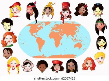 vector illustration, children of the world, education concept, white background.