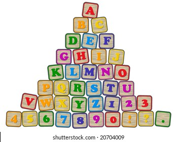 vector illustration of  children's building blocks showing the alphabet, numerals and punctuation.... all complete blocks are in individual groups, but on one layer...